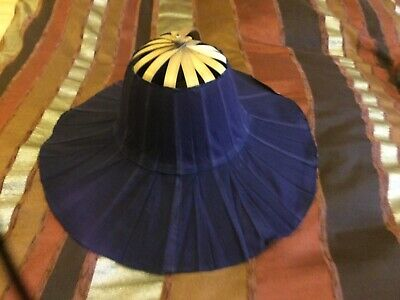 Folding Bamboo And Navy Fabric Sun Hat. Most Unusual GC • 5£