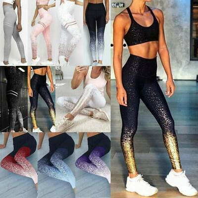 Womens Lady High Waist Jogging Leggings Pants GYM Stretch Fitness Yoga Trousers • 12.69£