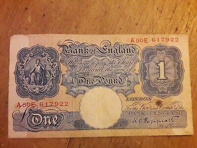 Bank Of England Old One Pound Note • 10£
