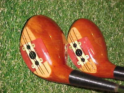 $100 • Buy PERSIMMON WOODS Macgregor Velocitized Eye-O-Matic Golf Clubs Set 3 & 5 New Grips