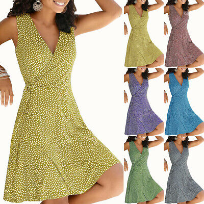 AU30.39 • Buy Plus Size Ladies V-Neck Sleeveless Mini Dress Summer Beach Casual Wrap Sundress