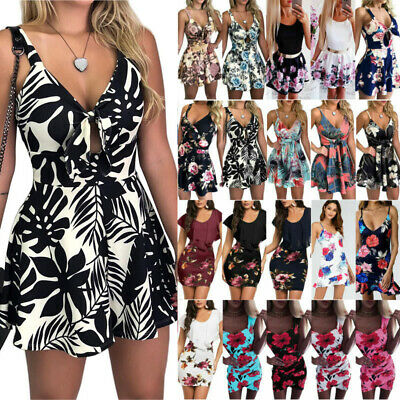 AU17.66 • Buy Women Holiday Floral Bodycon Mini Dress Casual Swing Skater Sexy Sundress Summer