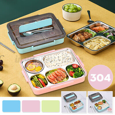 AU24.20 • Buy Stainless Steel Thermal Insulated 4/5 Grid Lunch Box Bento Food Picnic Container