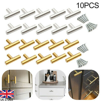 £8.21 • Buy 10pcs Brushed Brass Home Kitchen Cabinet Cupboard Knob Drawer T Bar Pull Handles