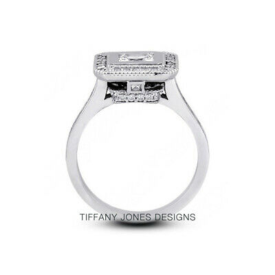 AU4407.12 • Buy 1.65ct G-SI1 Princess Natural Certified Diamonds 950 PL. Halo Side-Stone Ring
