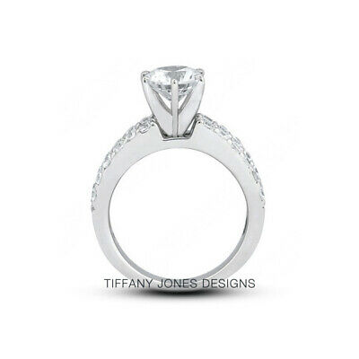 AU3978.24 • Buy 1 3/4 CT D SI1 Round Cut Earth Mined Certified Diamonds 950 PL. Side-Stone Ring