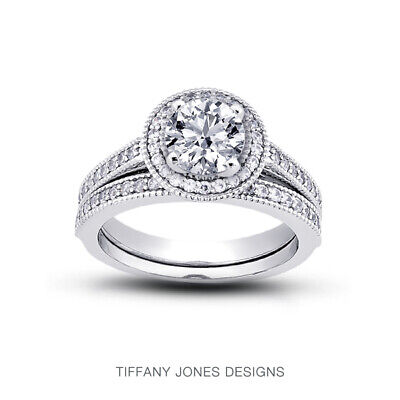 AU3741.62 • Buy 1 1/4ct G SI1 Round Earth Mined Certified Diamonds Plat Halo Engagement Ring Set