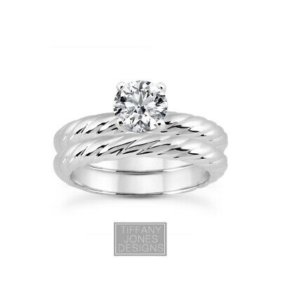 AU3933.87 • Buy 1/2ct E VS2 Round Natural Certified Diamond Plat Classic Ring With Matching Band