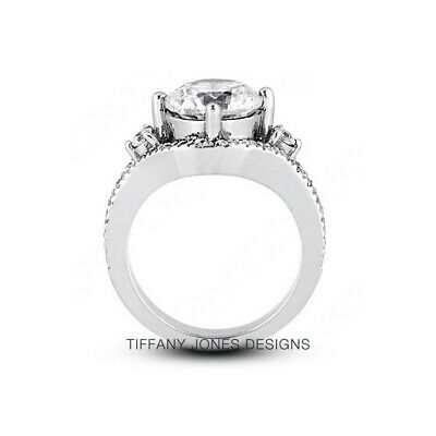 AU4244.44 • Buy 1.18 CT G-SI1 Round Cut Earth Mined Certified Diamonds 950 PL. Sidestone Ring