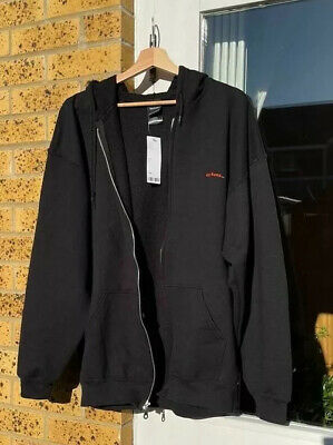 Urban Outfitters Black Iets Frans Zip Up Hoodie With Red Logo MEDIUM RRP: £49 • 40£