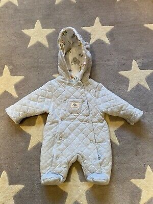 John Lewis Quilted Grey Pram Suit With Patterned Lining Size Tiny Baby • 1.70£