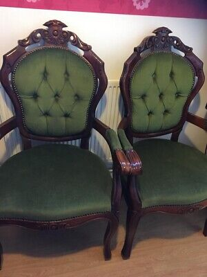 £295 • Buy 2 X Vintage Antique French Louis Style Green Velvet Carver Chairs HARRODS