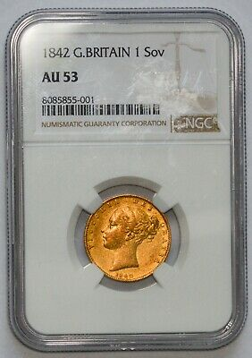 EARLY DATE 1842 Queen Victoria Gold Shield Sovereign - NGC AU-53 • 495£