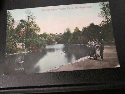 £2.99 • Buy Postcard Of Middle Lake, Public Park, Middlesborough (1913 Posted)