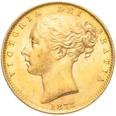 1872 Queen Victoria Gold Shield Sovereign (No Die Number) - NGC AU-58 • 465£
