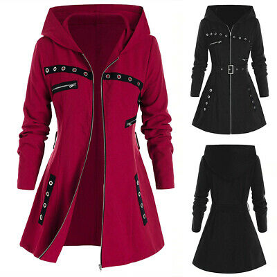 Women Parka Hoodie Hooded Belted Coat Ladies Hoody Casual Long Jacket Plus Size • 18.29£
