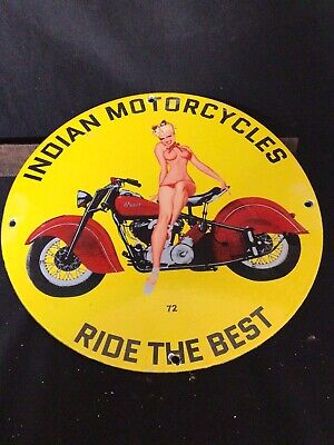 $ CDN49.60 • Buy Vintage Porcelain Indian Motorcycles Gas And Oil Sign