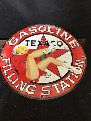$ CDN57.23 • Buy VINTAGE PORCELAIN TEXACO GAS AND OIL SIGN Gasoline Pinup 69