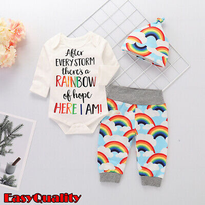 £8.19 • Buy Newborn Baby Girl Boy Rainbow Romper Tops Jumpsuit Pants Hat Clothes Outfits Set