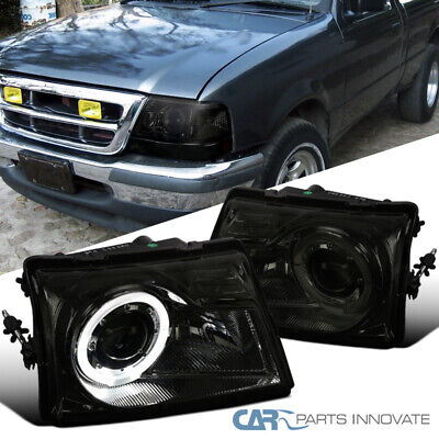 $93.05 • Buy For Ford 98-00 Ranger Pickup Smoke Projector Headlights Head Lamps W/ Halo Rim
