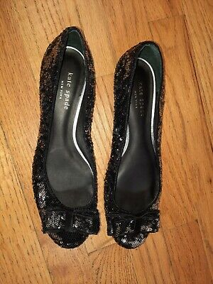 $21 • Buy Kate Spade Sequin Black Silver Flats Size 7.5