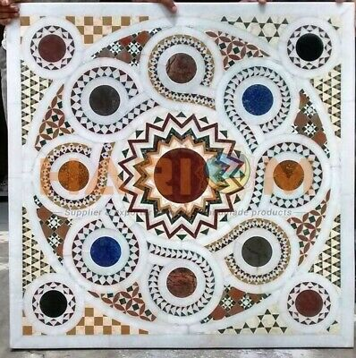 36  Marble Side Dining Table Top Multi Stone Mosaic Inlay Cafeteria Decors W030 • 1,191.93£
