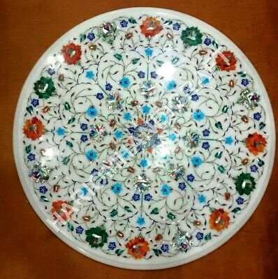 18  White Marble Dining Table Top Precious Stone Multi Marquetry Inlay Art E1051 • 461.57£