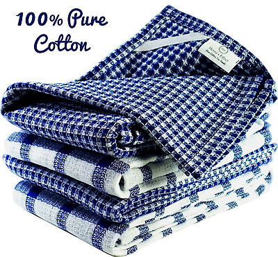 £11.95 • Buy Tea Towels Set 100% Pure Cotton Kitchen Dish Cloth Pack For Cleaning Drying Blue