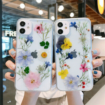 Luxury Real Dried Flower Clear Phone Case Cover For IPhone 12 11 Pro XS 7 8 XR • 4.69£