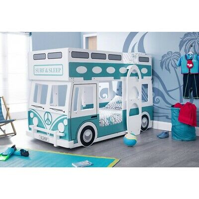 £499 • Buy Campervan Bed Surfer Style Green & White Bunk Bed By Julian Bowen Rrp £700