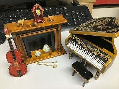 Dolls House Furniture Mantle Piece  Ornaments  Grand Piano  Cello 1:12 Scale X11 • 40£