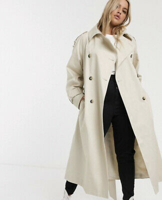 AU79.84 • Buy Asos Curve Longline Trench Coat In Stone Bnwt Size 22