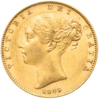 HIGH GRADE EARLY DATE 1845 Queen Victoria Gold Shield Sovereign - NGC AU-58 • 585£
