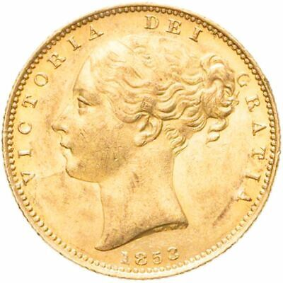 UNCIRCULATED 1853 Queen Victoria Gold Shield Sovereign -  W.W.  Raised Variety • 610£