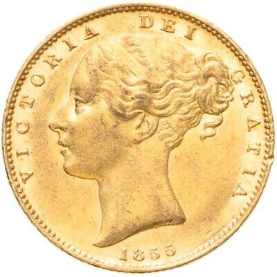 CHOICE & LUSTROUS 1855 Queen Victoria Gold Shield Sovereign -  W.W.  Incuse • 550£
