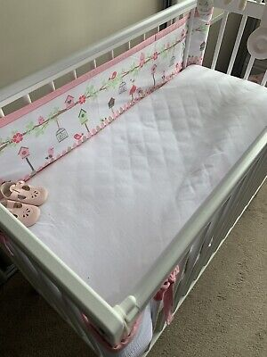 Brand New Compact Wooden Cot White, Drop Side  + New Sprung Mattress  Rrp £110 • 60£