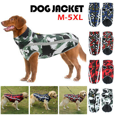 Waterproof Pet Dog Coat Clothes Pet Camouflage Print Jacket Boxer For Large Dogs • 7.49£
