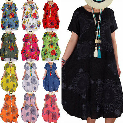 AU16.49 • Buy Plus Size Ladies Floral Tunic Kaftan Dresses Baggy Holiday Summer Beach Sundress