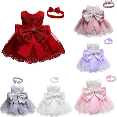 Kids Baby Girl Party Bowknot Tutu Dress Pageant Wedding Princess Christening • 14.99£