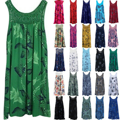 AU18.09 • Buy Plus Size Ladies Baggy Tank Dress Sleeveless Summer Casual Beach Tunic Sundress