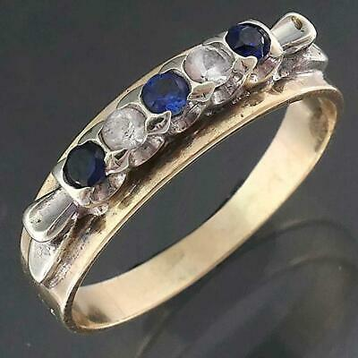 AU179 • Buy Classic Vintage 9ct Solid Yellow GOLD 3 SAPPHIRE & 2 SPINEL ETERNITY RING Sz N