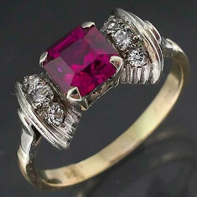 AU225 • Buy ART DECO Style 9k Solid Yellow GOLD RUBY 6 SPINEL Dressy Statement RING Sz L1/2