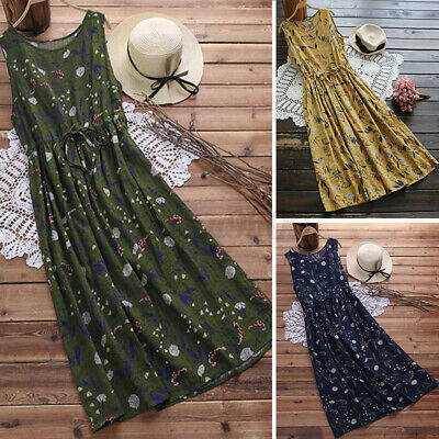 AU16.55 • Buy AU STOCK ZANZEA Women Summer Sleeveless Maxi Sundress Fashion Floral Tank Dress