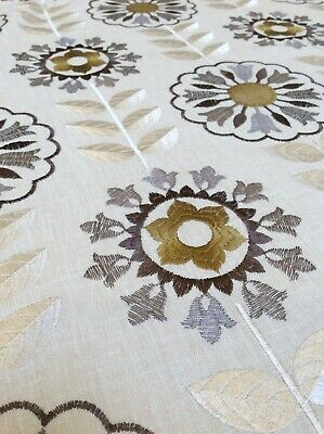 Embroidered Retro Flower Fabric Remnant Mustard Yellow Linen • 5£