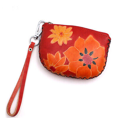 $11.75 • Buy GENUINE LEATHER WALLET COIN PURSE Pouch Change Holder PURSE KEYCHAIN CREDIT CARD