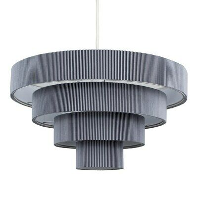 £22.99 • Buy  Ceiling Pendant Light Shades Lounge Easy Fit 4 Tiered Silver / Grey LED Bulb