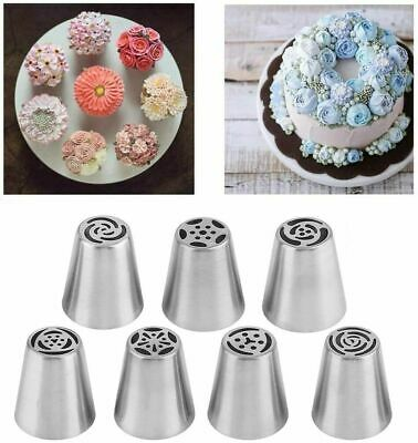 7pcs Russian Leaf Flower Icing Piping Nozzle Tips Cake Topper Decor Baking Tools • 5.69£