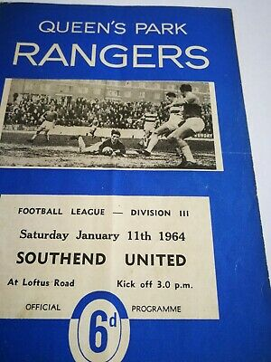 1963/4  QPR V SOUTHEND UNITED  DIV 3 • 1.50£