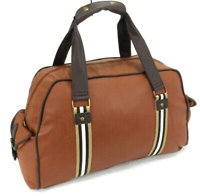 £11.99 • Buy Italian Leather Style Holdall Luggage Weekend Duffel Travel Overnight Bag Brown