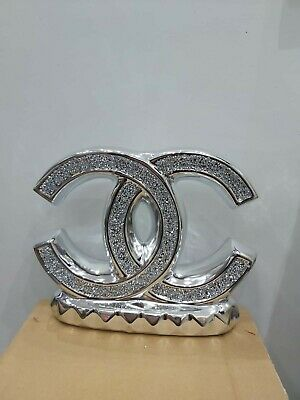 Crushed Crystal Diamond Silver Bling Ornament Shelf Sitter Mantle Piece NEW L • 24.99£
